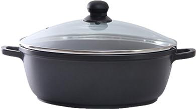 Cooking Stock Pot Household Hot Pot Aluminum Korean Soup Pot Glass Lid Double Ear Nonstick Pot (Color : Multi-colored, Siz...