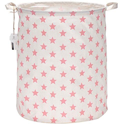 Sea Team 19.7 Inch Large Sized Waterproof Coating Ramie Cotton Fabric Folding Laundry Hamper Bucket Cylindric Burlap Canvas Storage Basket with Stylish Pink Design (Pink Star)