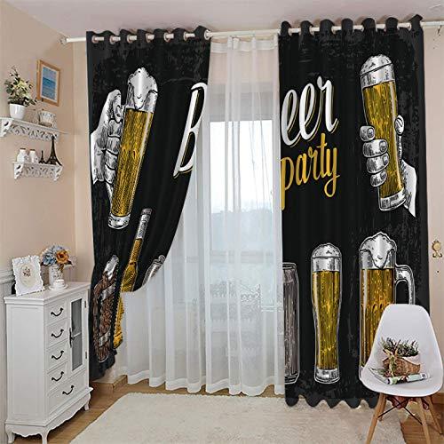 cortinas opacas termicas aislantes 46x72 Inch Dibujos animados copa de vino bar con Ojales 2 Piezas Cortinas Térmicas Aislantes Moderna Decoración Ventanas para Dormotorio Habitacion Sala Salon Para N