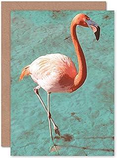 Fine Art Prints Flamingo på blått gratulationskort med kuvert inuti premiumkvalitet