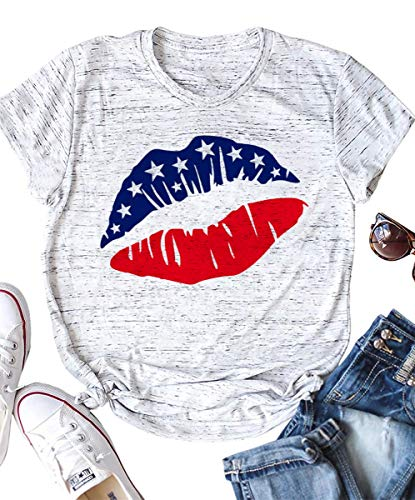 Womens 4th of July American Flag Lips Vintage T Shirt Shirts Summer Lightweight Casual Graphic Tops Tee