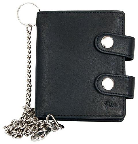 FLW Cartera de bolsillo negro estilo motero de cuero fuerte con cadena de metal