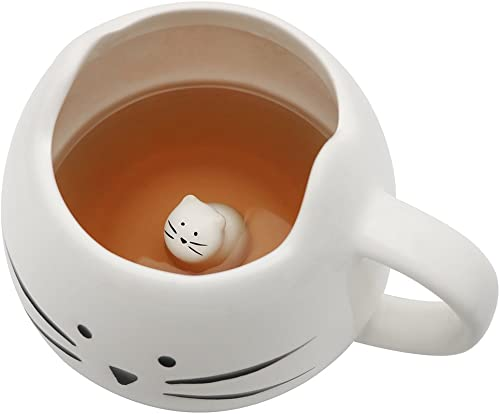Cute White Ceramic Cat Lovers Cups Coffee Mug with White Little Cats Funny Office Home Porcelain Meow Mug for Women G...