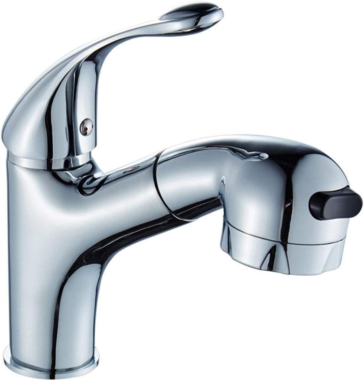 ZOUQILAI Einziehbare Stretch-Badezimmer-WC-Wasserhahn Warmes und kaltes Waschbecken Einloch-Waschbecken Pull-Typ-Teleskop-Wasserhahn
