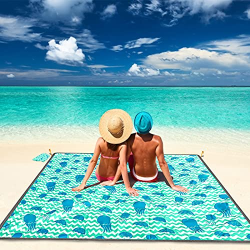 beach mat for adults MIBABO Foldable Sandproof Beach Blanket Oversized, 79''×83'' Picnic Blankets Waterproof Windproof for 4-7 Adults, Lightweight & Quick Drying Beach Mat for Travel, Outdoor Beach Picnic Blankets