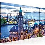Bilder Hamburg Hafen Wandbild 200 x 80 cm Vlies - Leinwand
