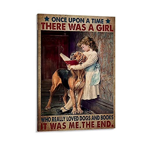 HAPPOW Once Upon A Time There Was A Girl Who Really Like Dogs And Read Books quotes Poster Canvas Wall Art Posters For Bedroom Walls Aesthetic Living Room Home Decor 08x12inch(20x30cm)
