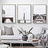 Esculturas de construcción nórdica puente arte de la pared pintura en lienzo impresiones carteles de paisaje para la sala de estar moderno contratado decoración del hogar 50x70cmx3 sin marco