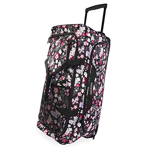 Pacific Coast Signature Women's 32' Large Rolling Duffel Bag, Dark Butterfly, One Size