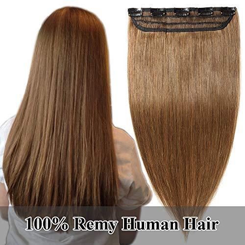 TESS Echthaar Extensions Clip in guenstig 1 Tresse 5 Clips Haarteile 3/4 Haarverlängerung Glatt 7A Haar Extensions #6 Hellbraun, 24