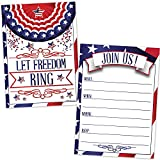 Patriotic Invitations (20 Count with Envelopes) - 4th of July Picnic Invites - Memorial Day - Labor Day Celebration - Veteran's Day - Stars and Stripes Let Freedom Ring - American Flag Election Rally