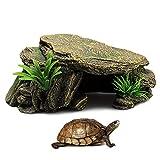 iFCOW Acuario Ornamento Reptil Tortuga Terraza, Tortuga Tomando la Plataforma de Escalada Resina Escondida Cueva Pecera Acuario Paisajismo Decoración Ornamento