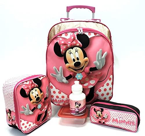 Kit Mochila Infantil Minnie Mouse Lisa G Rodinhas Menina F5