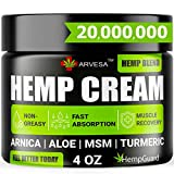 Natural Hemp Cream for Muscles, Joints, Back, Knees, Neck, Fingers, Elbows - Made in The USA - High Strength Hemp Oil Extract with Msm, Arnica, Turmeric - 4oz