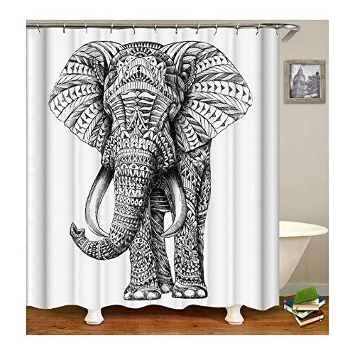 SonMo Duschvorhang Waschbar Anti-Bakteriell Wasserdicht Anti-Schimmel mit Duschvorhangringen Badvorhang Polyester Elefant Bunt 180X180CM Z10770