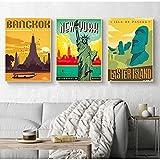 SSHABC Europa World City Tour Paisaje de Viaje Cartel de Paisaje Vintage Impresiones Arte de la Pared Pintura en Lienzo Habitación Decoración para el hogar / 42x60cmx3 / Sin Marco