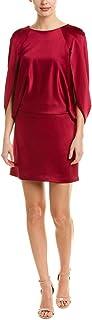 HALSTON HERITAGE Women's Cape Sleeve Round Neck Satin Dress