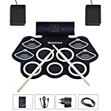 Asmuse™ Drum Elektronisches Schlagzeug Kit 9 Pads Tragbare Roll Up Midi Tabletop E-Drum Schlagzeug Set mit Eingebautem Lautsprecher Drum Fußpedal Drumsticks für Kinder Anfänger