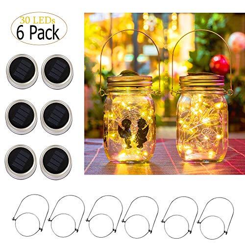 ZNYCYE Solar Mason Jar Lights, 6 Pack 30 Led String Fairy Star Firefly Jar Lids Lights, Jars Not Included, Best for Mason Jar Decor,Great Outdoor Lawn Decor for Patio Garden, Yard (Warm White)
