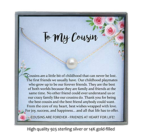 Cousin Gifts for Women, Floating Pearl Necklace with Meaningful Message