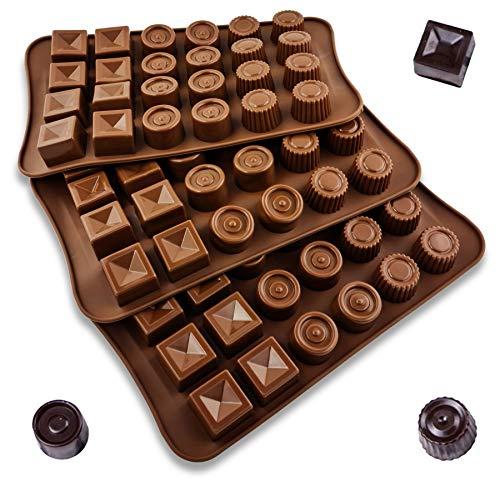Moldes de silicona para hornear, juego de 3 unidades, moldes para caramelos, chocolate, bombones flexibles para dulces duros o gomosos