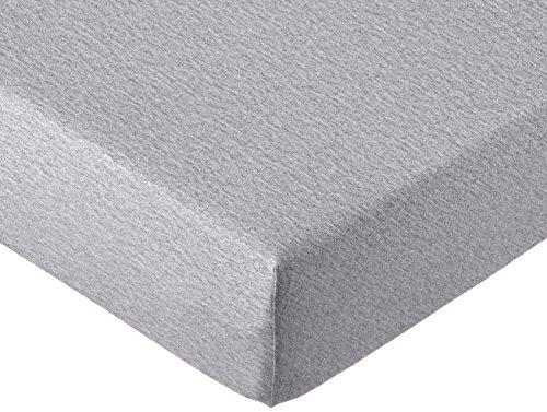 AmazonBasics - Spannbettlaken, melierter Jersey-Stoff 140g/m², Grau - 140 x 200 x 30 cm