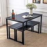 Danxee 3 Piece Dining Set Modern Style Dining Table Kitchen Table with 2 Benches (Black)