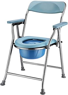 Foldable Commode Chair, Bedside Commode with Toilet Style Seat,Extra Wide with Bucket Splash Guard for Elderly People with...