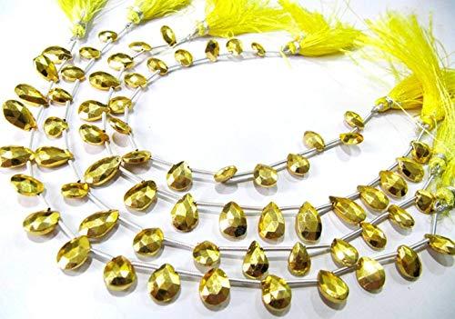 Shree_Narayani Natural de oro pirita forma de pera 7x10mm piedras preciosas perlas hebra 8 pulgadas de largo joyería haciendo piedras preciosas perlas precio al por mayor 1 hebra