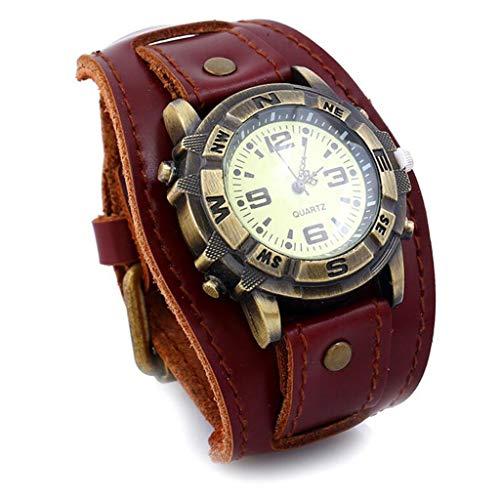 GJ Pulsera de Cuero Vintage Reloj de Hombre Reloj de Cuero Pulseras Europeas y Americanas Pulseras de Cuero Tejidas joyería de Hombres y Mujeres (Color : Brass)