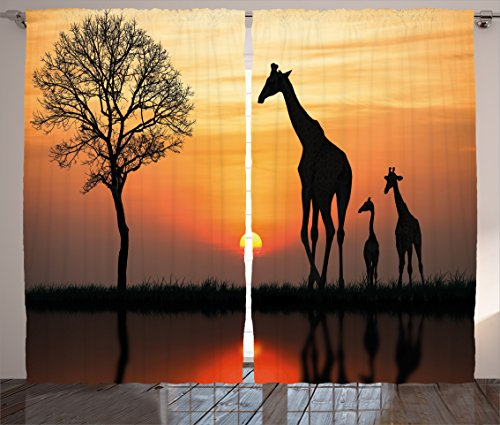Ambesonne Africa Curtains, Giraffes on Bushes by The Lake Surface...