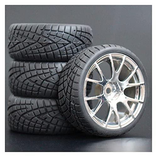 HYZZ Neumáticos de Coche de Juguete 4 Uds 26mm Neumáticos De Goma RC Y Llantas Hexagonales 12 para 1:10 para HSP para HPI para Sprint 2 para Drift RS4 En Carretera 4WD ( Size : 9061-8001 )
