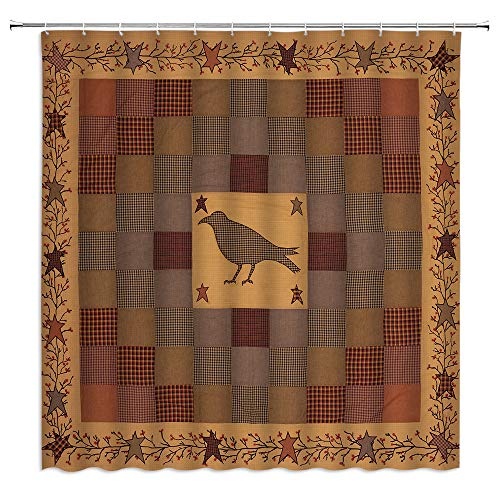 BOYIAN Primitive Country Shower Curtain Crow Buffalo Star Berry Vine Rustic Plaid Patchwork Americana Cabin Farmhouse Burgundy Red Fabric Bath Curtains Bathroom Polyester with Hooks 60x71 Inch