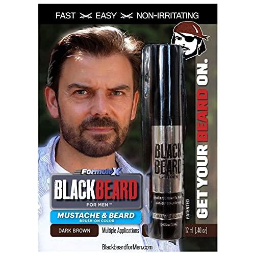 Blackbeard for Men Formula X Instant Mustache, Beard, Eyebrow and Sideburns Color - Fast, Easy, Men's Grooming, Beard Dye Alternative, Dark Brown, 1 Pack