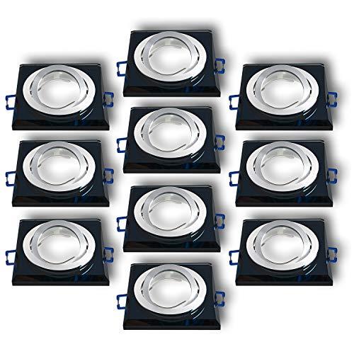Einbaustrahler aus Glas/Spiegel/Schwarz CRISTAL-S Inkl. 10 X CRISTAL-S Eckig Schwenkbar IP20 Deckenstrahler Einbauleuchte Deckeneinbauleuchte Deckenspot, 10x Fassung GU10 - ohne Leuchtmittel
