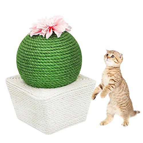 AIMERKUP Katzenkratzbaum mit Kugel, Kratzbaum für Katzen, Kaktus-Kugel, Sisal-Kratzbaum mit Blumen und Katzenminze, interaktives Spielzeug für Katzen