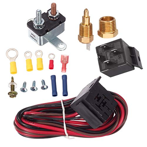 PartsSquare 175-185 Degree Electric Cooling Fan Thermostat Kit Temp Sensor Temperature Switch 40 50 60 amp RELAY KIT