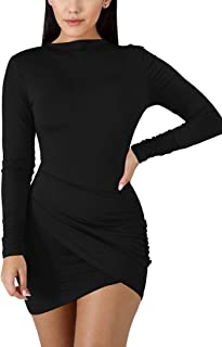 Women's Sexy Wrap Front Long Sleeve Ruched Bodycon Mini...