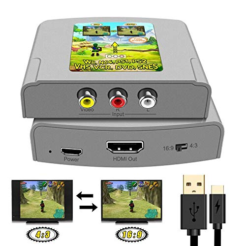 RCA to HDMI Converter AV to HDMI Cable 3 RCA CVBS Composite to HDMI Support 16:9/4:3 Switch AV Adapter Supporting PAL NTSC for PC Laptop TV STB VHS VCR Camera DVD Etc