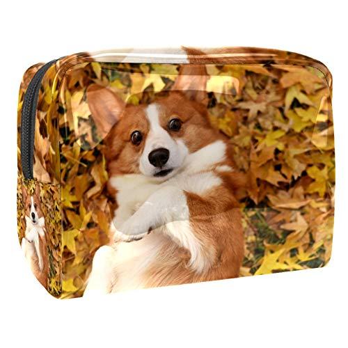 Neceser de Maquillaje Estuche Escolar para Cosméticos Bolsa de Aseo Grande Perro Corgi Mascota Jugando en Hojas de otoño
