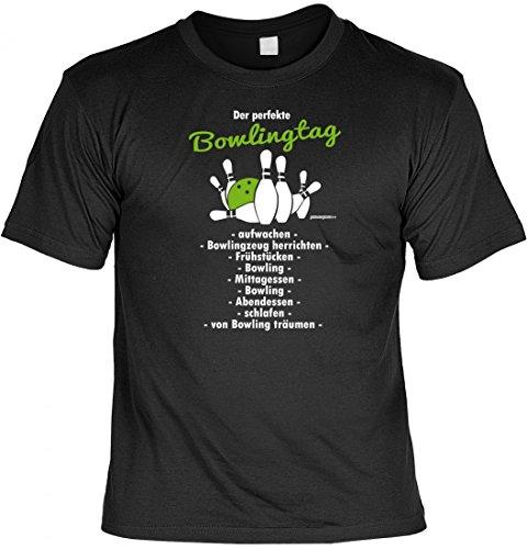 T-Shirt Funshirt - Der perfekte Bowlingtag - witziges Spruchshirt als Geschenk für den Bowling und Kegel Fan, Größe:4XL
