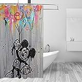 BLACKbiubiubiu Mickey Mouse Minnie 152,4 x 182,9 cm Bedruckter Duschvorhang Badezimmer Wasserdichter Vorhang