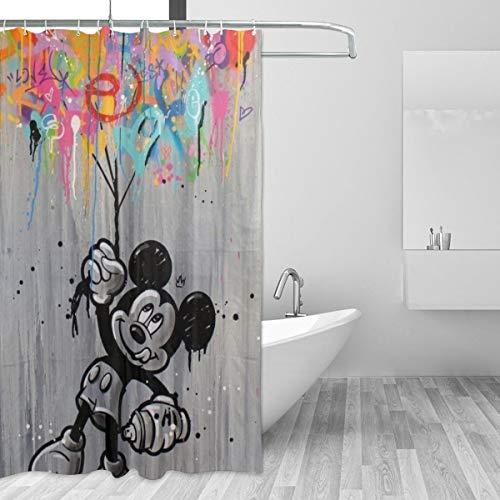 BLACKbiubiubiu Mickey Mouse Minnie Duschvorhang, 152,4 x 183,9 cm, bedruckt, wasserdicht, Badezimmer