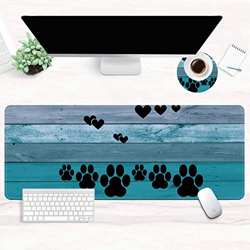 Extended XXL Gaming Mouse Pad 31.5x11.8 Inch, Large Full Desk Mouse Pad with Stitched Edges, JANENFNA Cute Decor Keyboard Pad Desk Mat for Desktop, Big Mouse Pad Gaming Office Home Dog Paw
