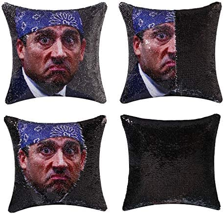 cygnus The Office Merch Michael Scott Quote Humor Sequin Pillow Cover Funny White Elephant Gifts product image