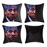 cygnus The Office Michael Scott Quote Humor Sequin Pillow Cover Funny White Elephant Gifts Reversible That Color Change Cushion Cover 16x16 inches (Type 2-Black Sequin)