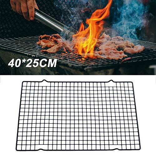 Kalaokei Tapis de barbecue en acier inoxydable anti-adhésif 40 x 25 cm, Acier inoxydable, 40*25cm