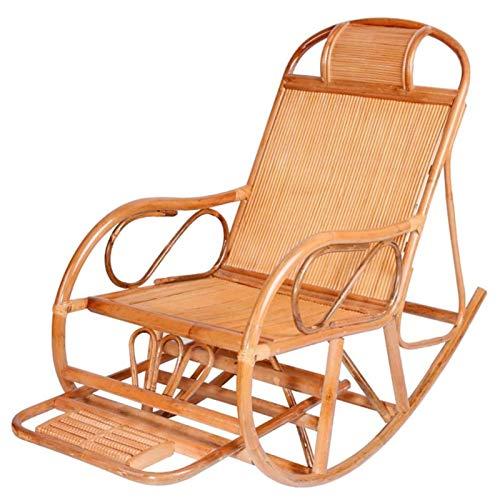 SHUILV Silla Mecedora de ratán para el hogar, Pedales retráctiles para relajar el sillón de Asiento de Edad Avanzada (Color: A/B) (Color : A)