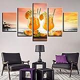 HIMFL Zumo De Naranja Deliciosa Comida Lona Pinturas Huellas Dactilares 5 Paneles Mural Casa Decorativo Imagen para Sala de Estar,A,30×40×2+30×60×2+30×80×1