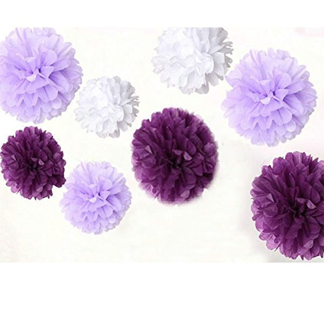 Krismile? Pack of 18pcs Mixed 3 Sizes White Plum Lavender Tissue Paper Pom Pom Flower Holiday Wdding Party Garland Baby Girl Room Decoration
